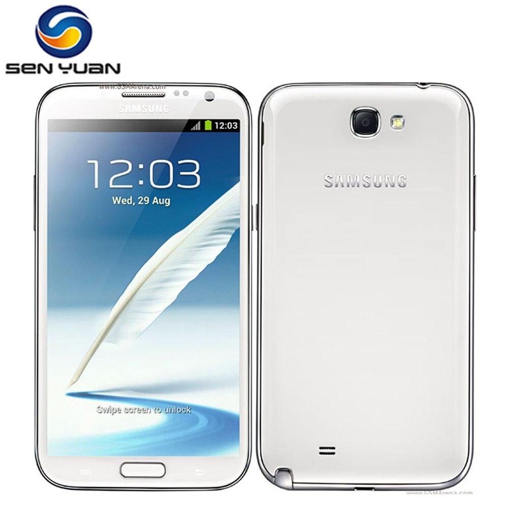 """Цена за Оригинальный Samsung Galaxy Note 2 N7100 N7105 Мобильного Телефона 5.5 """"Quad Core 8MP WIFI GPS 16 ГБ ROM разблокирована сотовый телефон"""