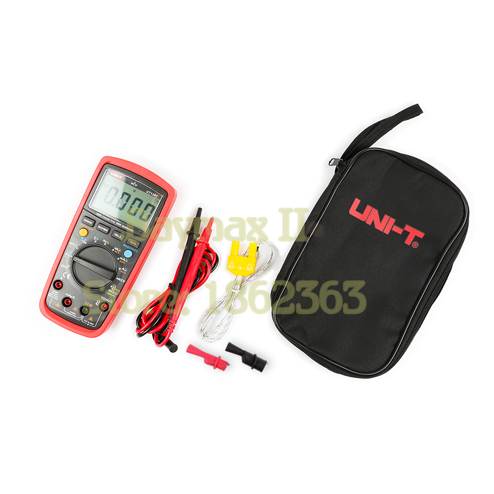 UNI-T UT139C Digital Multimeter 6000 Counts True RMS Tester with Temperature Measurement and Carry bag& a Pair of Alligator Clip handheld counts with temperature measurement lcd digital multimeter tester xl830l without battery new ls d tool