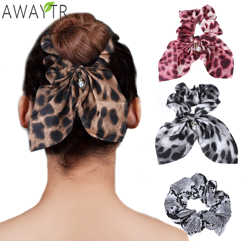 AWAYTR Snake Bow Elastic Scrunchies Women Hair Ties Stretch Ponytail Hair Rope Bands Headbands Girl   Headwear   Hair Accessories