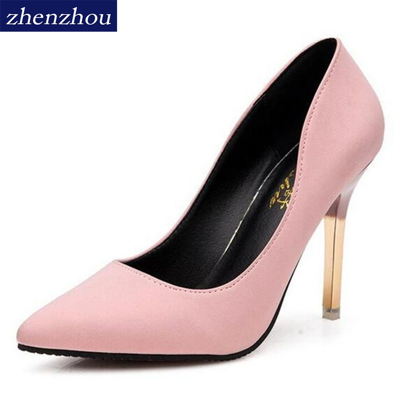 2016 summer elegant ol single shoes shallow mouth pointed toe high-heeled shoes thin heels sexy pink women's high-heeled shoes 85mm 33 meters 0 08mm single side high