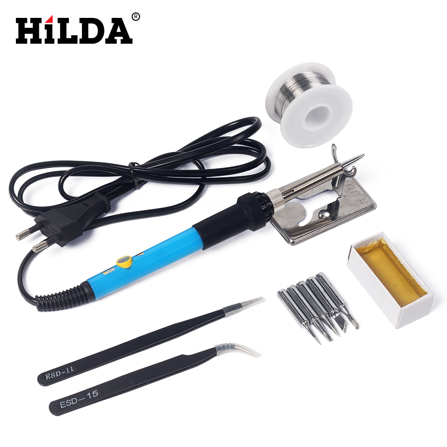 110V 220V 60W Adjustable Temperature Electric Soldering Iron Kit+5pcs Tips Portable Welding Repair Tool Set Tweezers Solder Wire eu plug 220v 60w adjustable temperature electric soldering iron kit 5pcs tips portable welding repair tool screwdriver soldertin