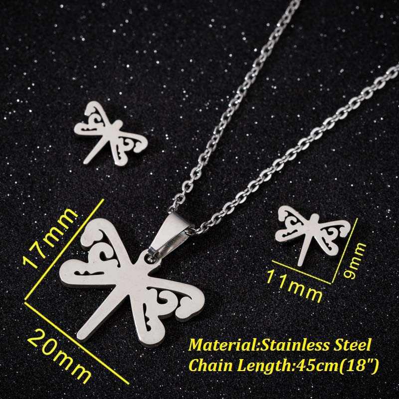 Oly2u แฟชั่นเครื่องประดับแมลง Dragonfly จี้ชุดสร้อยคอผู้หญิง kolye สัตว์น่ารักสร้อยคอยาว accesorios mujer