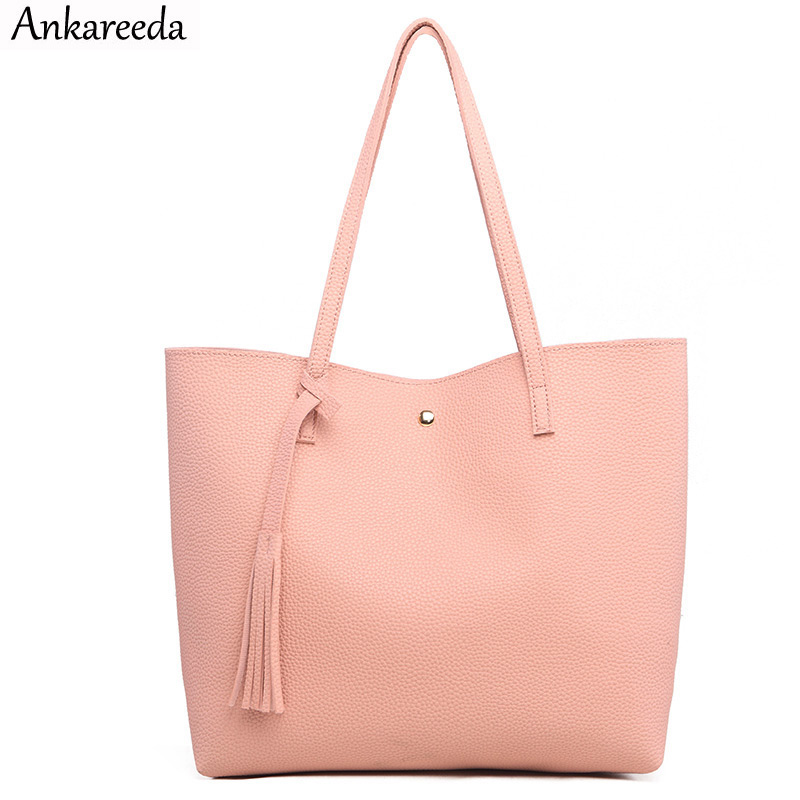 Ankareeda Luxury Handbags Women Bags Designer Soft Leather Women Shoulder Bag Brand Ladies Tassel Tote Handbag Sac A Main Femme