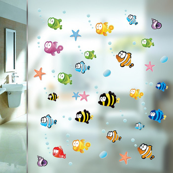 Underwater Cartoon Fish Starfish Bubble Wall Sticker For Kids Rooms -Free Shipping Bathroom Stickers For Kids Rooms