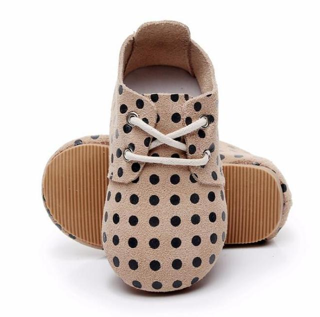 High quality 2019 new hard sole genuine leather baby shoes polka dot toddler maccasins shoes lace up handmade kids shoes