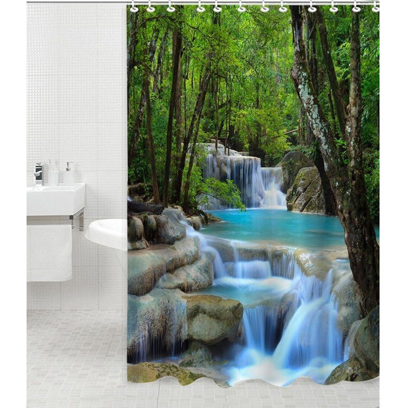 Bathroom Shower Curtain Wonder Waterfalls Nature Scenery Mildewproof Polyester Fabric Bath Screens with Fabric 72 Inch 12 Hooks seaside scenery skidproof crystal velvet fabric rug