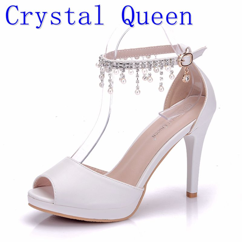 Crystal Queen Summer Women Wedding Shoes Tassel Wind Buckle Sandals High Heels Women Fish Mouth Paltform Shoes Tide Small Pumps crystal queen sandals 14cm high heels women pumps sexy style buckle strap white lace pearl tassel fower wedding shoes summer