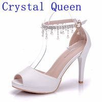 Crystal Queen Summer Women Wedding Shoes Tassel Wind Buckle Sandals High Heels Women Fish Mouth Paltform Shoes Tide Small Pumps