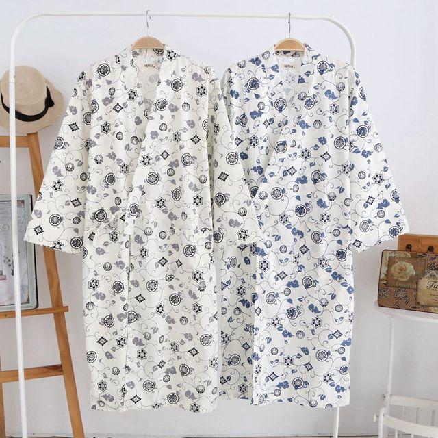Envío libre Masculino de Algodón Albornoz Japonés Yukata Kimono Japonés Tradicional de Los Hombres Pijamas ropa de Noche 72902