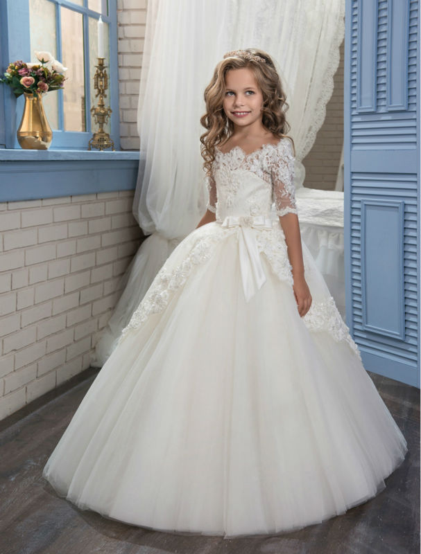 floor length appliques flower girl dresses ball gown kids wedding pageant party gowns tulle mother daughter dresses for girls Short Sleeve White Flower Girl Dresses For Wedding Gown Tulle Mother Daughter Gowns Ball Gown Mother Daughter Dresses for Girls