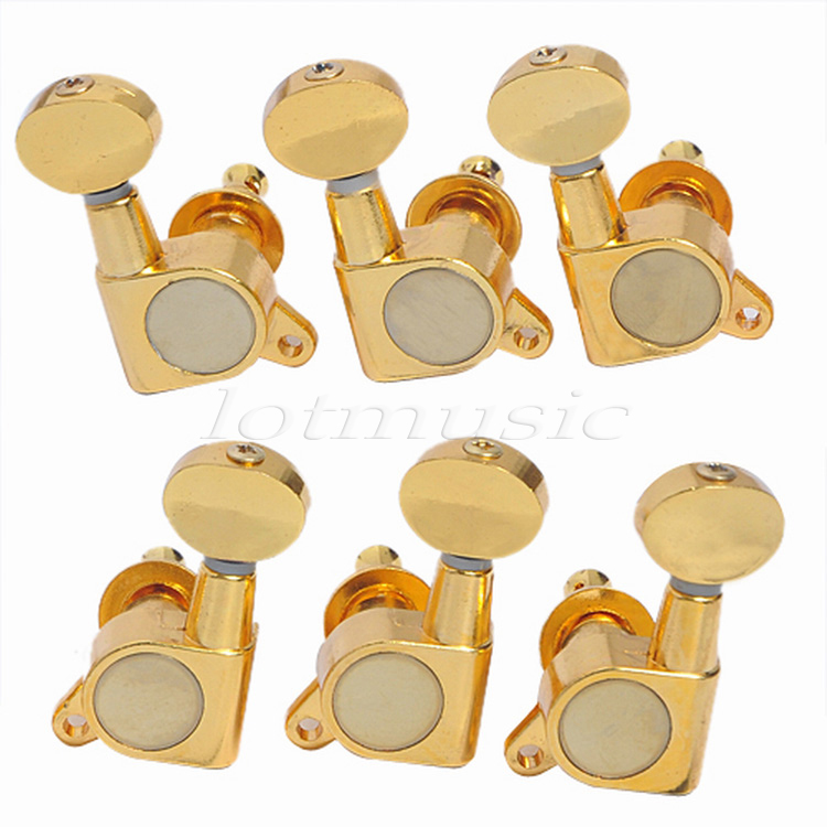 Guitar Tuning Pegs for Electric Acoustic Guitar Parts Tuners Inline 3L3R 6L 6R Inline Machine Heads Keys Gold Chrome Black yibuy 3r3l black guitar tuning keys machine heads for lp etc guitar