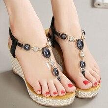 Women Summer Platform Sandals 2015 Bohemian Sandal Jelly Flip Flops Lady Beach Wedges Slippers Thong Beaded Black Shoes