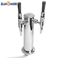 ELECQUEEN Top Quality Double Straight Faucet Beer Tower Stainless Steel Shiny Body Homebrew Draft Beer Towers Bar Accessories