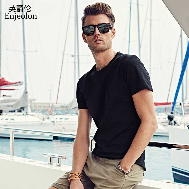 b2783df94 Enjeolon brand short sleeve cotton t shirt man solid O neck tee base  quality clothes plus