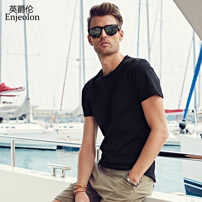Enjeolon majica s kratkimi rokavi bombažna majica, trdna O vrat majica, kakovostna oblačila plus velikost 4XL priložnostne moške majice T7003
