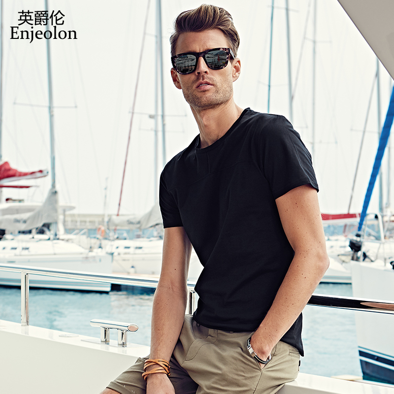 Enjeolon μάρκα κοντό μανίκι βαμβακερό t shirt άνθρωπος στερεό O λαιμό tee βάση ρούχα ποιότητας συν το μέγεθος 4XL casual άνδρες tshirt T7003
