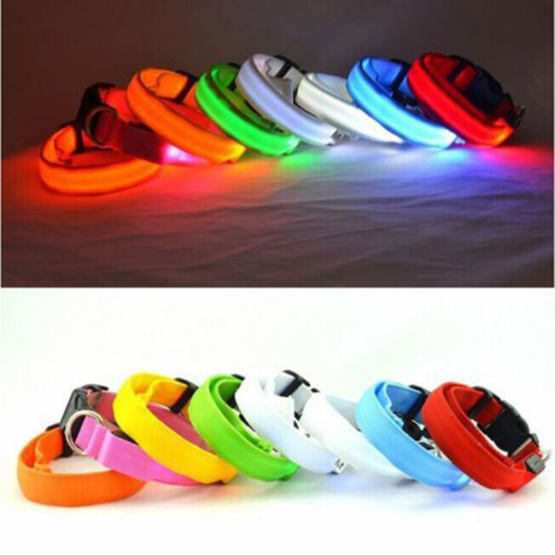 7 Color S M L Size Glow LED Dog Pet Cat Flashing Light Up Nylon Collar Night Safety Collars Supplies Dropship