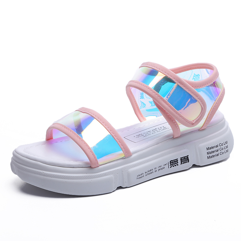 Sandales 2018 Laser Plate Chaussures Cuddlyiipanda Mujer D'été Boucle white forme Crochet Femmes Éblouissant Sandalias Plage Lettres pink Black Nouveauté Et fgyYmIb7v6