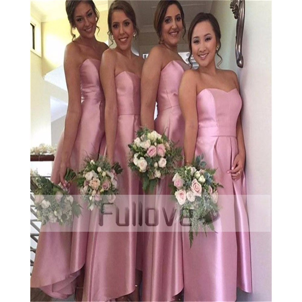 Noble Gracegul Pink Satin   Bridesmaid     Dresses   Strapless Ankle-Length A-line Wedding Party   Dress   Vestido De Noiva Robe De Soiree