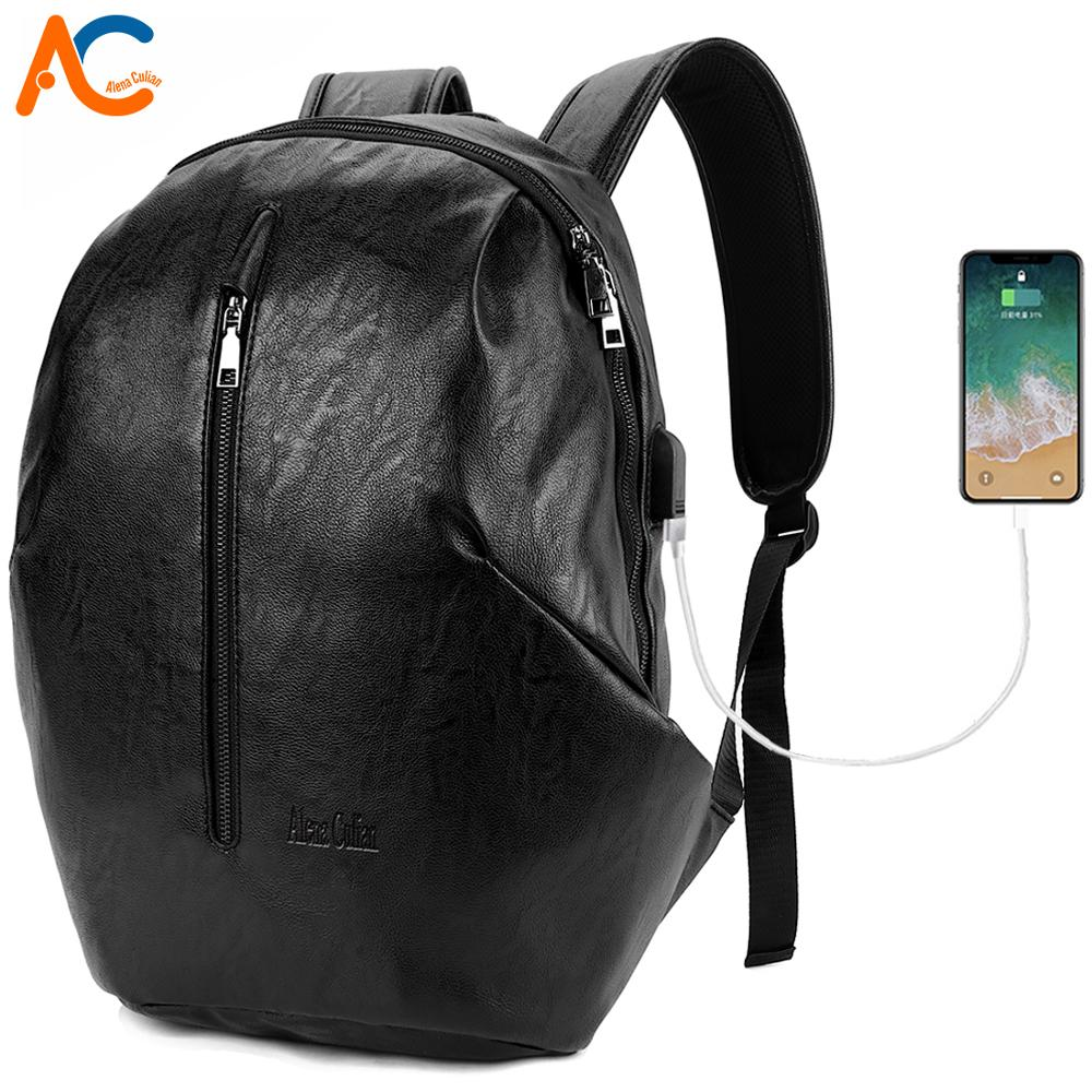 Alena Culian Fashion Brand Personality Men USB Charging Backpack Leather Travel Backpacks For Men 15 6