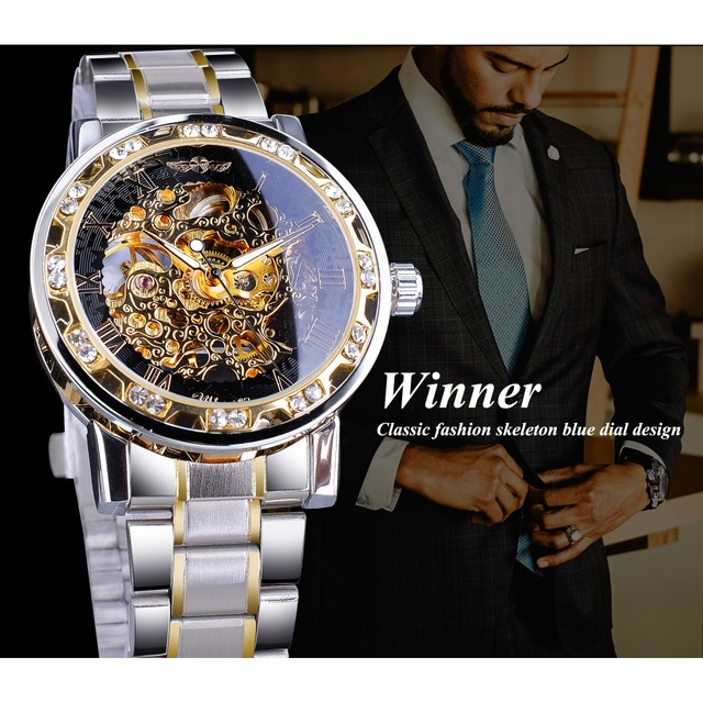 Winner Transparent Fashion Diamond Display Luminous Hands Gear Movement Retro Royal Design Men Mechanical Skeleton Wrist Watches 2