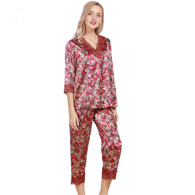 1ef30e2dd6 New Women s Silk Pajama Sets Spring Summer Female Lace Embroidered Satin  Pyjamas Sleepwear Loungewear Luxury Homewear
