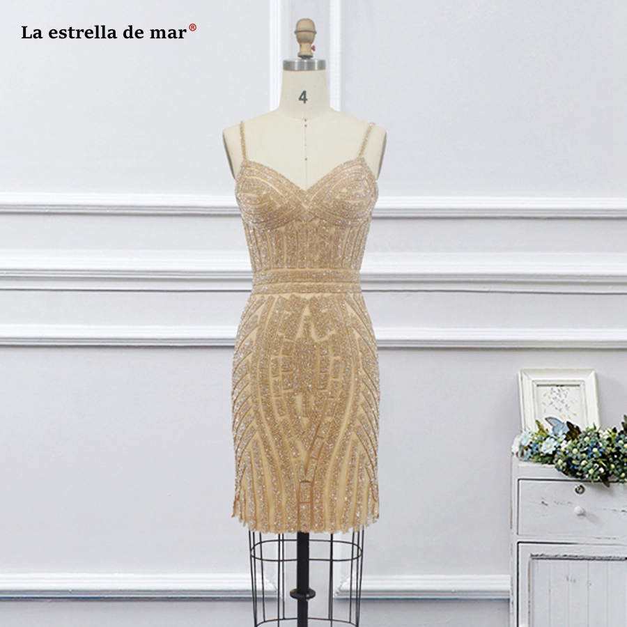 Robe   cocktail   new luxury crystal Spaghetti Strap Backless skinny golden   cocktail     dress   knee length real photo vestidos de coctel