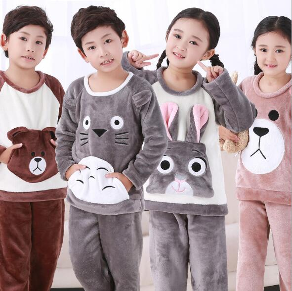Winter Children Fleece Pajamas Warm Flannel Sleepwear Girls Loungewear Coral Fleece Kids Pijamas Homewear Boys Pyjama HVNU11