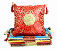 Chinese Jacquard Dragon Ethnic Pillow Cushion Cover Vintage Tassel Damask Pillowcase 45x45 wholesale 12piece/pack