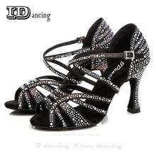 Джазовая обувь латиноамериканское танцевальное танцы горный хрусталь Сальса латинская Обувь Кроссовки танцевальная обувь черный Полный алмаз танцевальная обувь я танцы