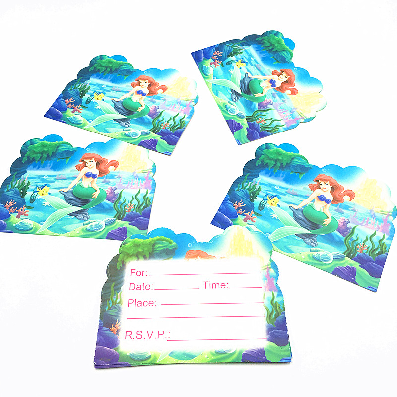 10PCS/LOT MERMAID INVITATIONS KIDS BIRTHDAY PARTY FAVORS MERMAID INVITATION CARDS HAPPY BIRTHDAY PARTY SUPPLIES