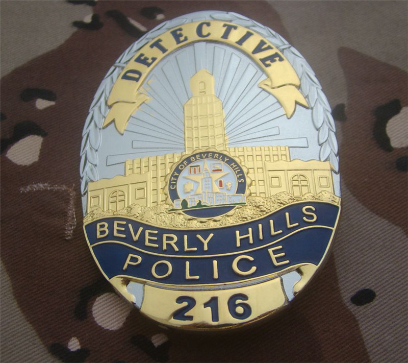 United States Beverly Hills Police Officer Badges No.216 Copper DETECTIVE Shirt Lapel Badge Brooch Pin Badge 1:1 Gift Cosplay