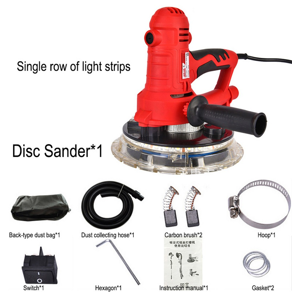 AC220V 600-2300r/min Wall Polisher Grinding Machine Portable Dry Wall Sander Wall Putty Polisher Machine with Electric Led Light
