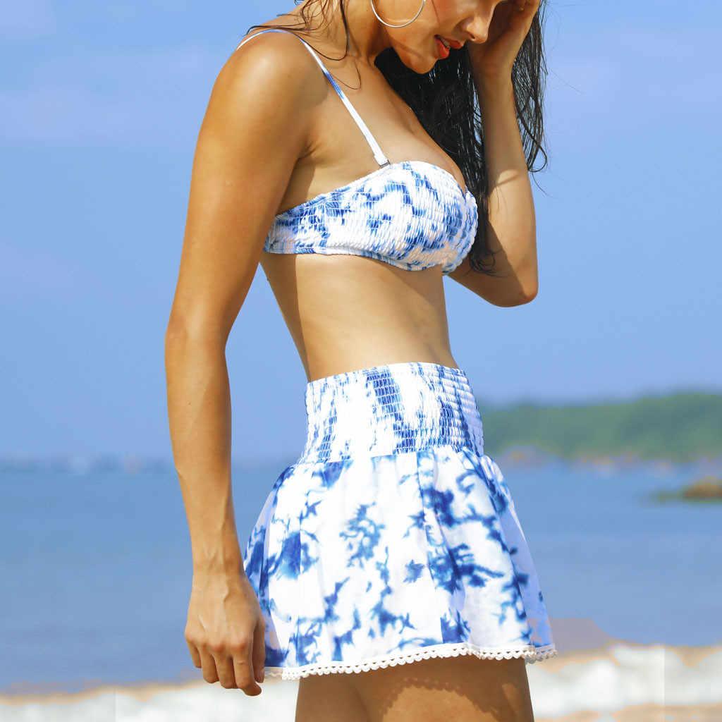 Maillot de bain maillot de bain été femmes Tankini ensembles avec jupe pantalon Bikini ensemble maillots de bain push-up rembourré soutien-gorge bikinis 2019 mujer
