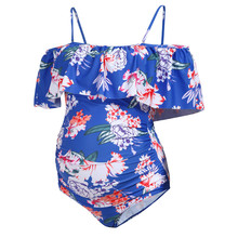 Summer Maternity Floral Print Flouncing One Piece Swimwear