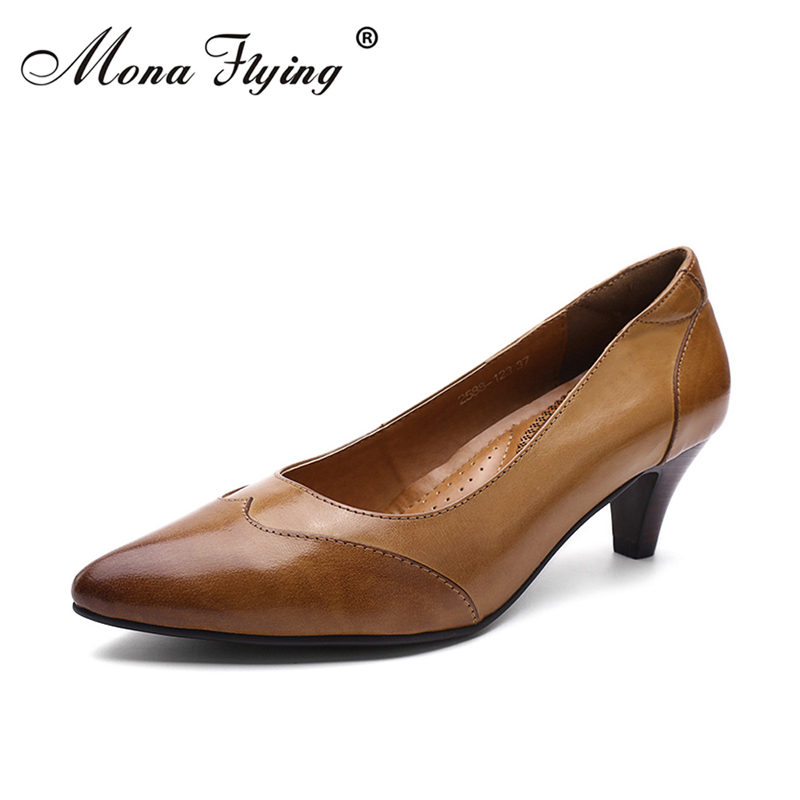 Women Pumps Shoes 2018 New Design Genuine Leather High Heels Women Dress Shoes for Office Lady Pointed Toe Pumpswomen 2588-123 women shoes genuine leather pointed toe high heels women pumps shoes 2018 brand new fashion sexy red women office shoes 2588 a01