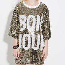 Woman Club Dresses 2018 Sequin T Shirt Dress Plus Size Loose Tee Shirts  Glitter Tops Summer d2e5fd76d6f8