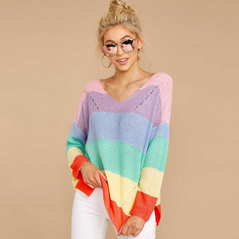 Радужный свитер женский джемпер modis пуловер pull корейский стиль зимняя одежда свитера женские джемперы для улицы женская одежда