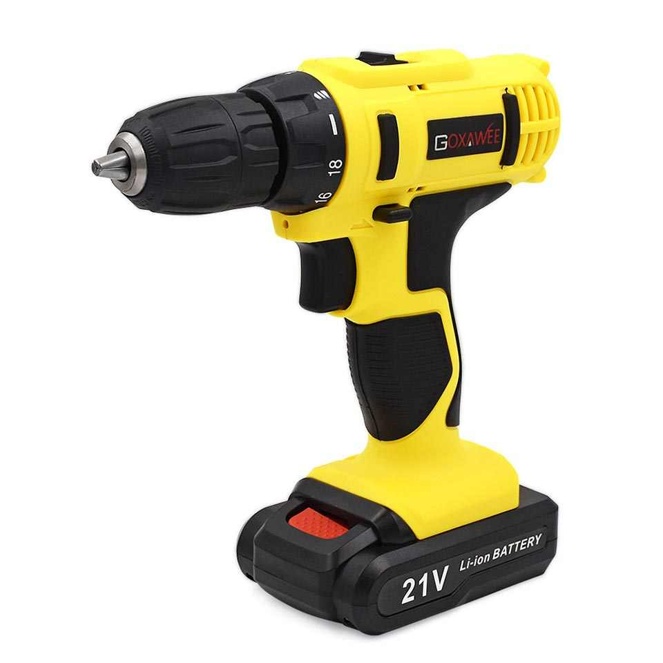 21V 2 Speed Electric Drill Lithium Cordless Screwdriver Power Drills Multi-function Household Electric Screwdriver Tools