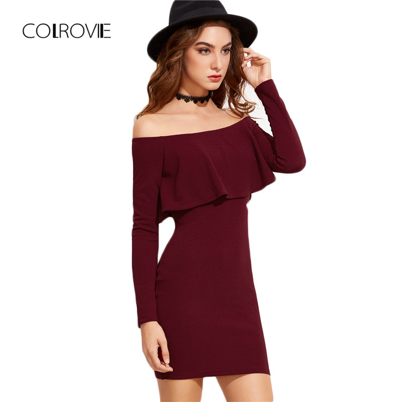 COLROVIE Lange mouw Mini-jurk Dames Herfst Winter Jurken Dames Sexy Partij Bourgondische off-shoulder Ruche bodycon-jurk