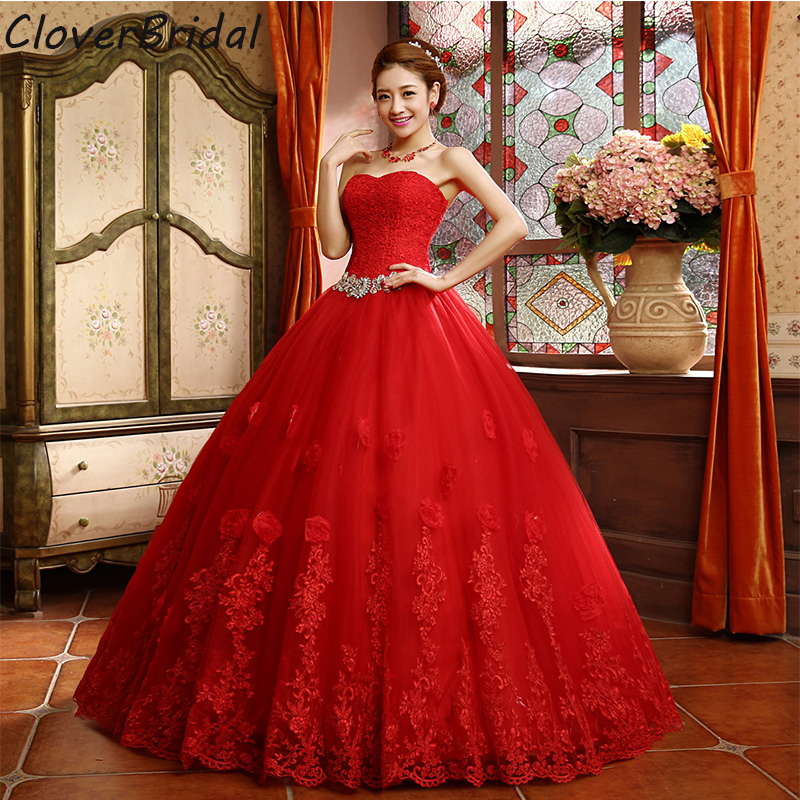 2015 Best Selling Ball Gown Lace Tulle Red Wedding Dress Chinese ...