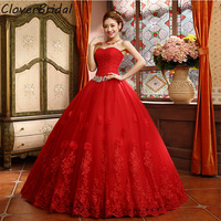 2015 Best Selling Ball Gown Lace Tulle Red Wedding Dress Chinese Style Cheap China Bridal Gown
