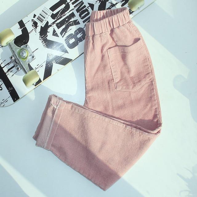 Plus Size Elastic Waist Fashion Warm Fleece Corduroy Elegant Slim Pant Korean Ladies Vintage Solid Trouser Winter Summer Autumn 1