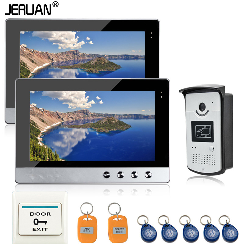 JERUAN Wired 10 LCD Screen Video Door Phone Intercom RFID Access System 2 Monitors + 1 Waterproof Door Camera +1 exit button jeruan two 7 monitors lcd screen video intercom video door phone handsfree access control system 700tvl camera cathode lock