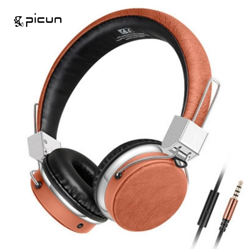 PICUN C3 Wired  Microphone Deep Bass 3.5mm On ear Headset headphone HIFI music sound Stereo For phone PC Mp3 iphone headphones hot sale pro good sound quality gift box hifi hd high end bass stereo music universal in ear wired 3 5 mm earphone for mp3 mp4