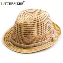 BUTTERMERE Hat Women Summer Straw Sun Hat Colorful Striped Female Beach Bohemian Panama Hat Ladies Fashion Fedora недорого