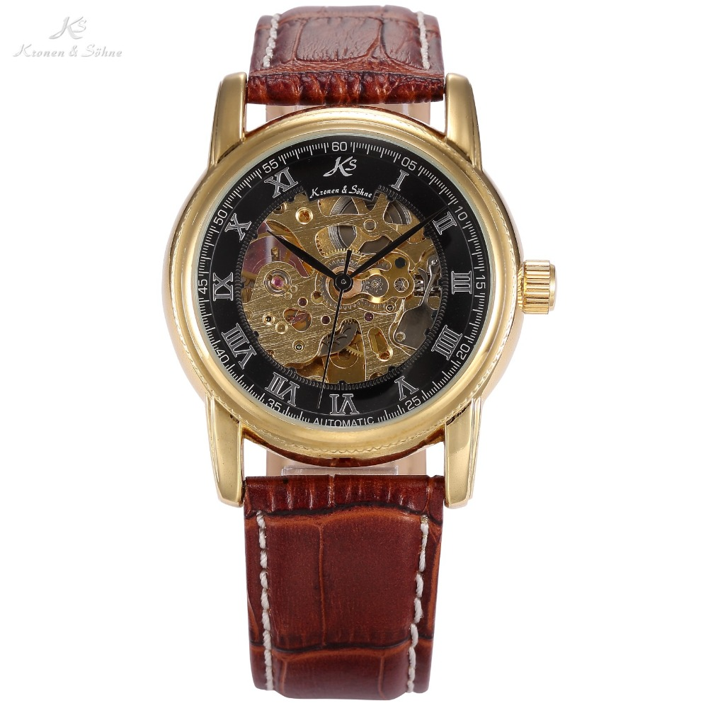 Classic KS Black Skeleton Dial Golden Case Rome Numeral Automatic Mechanical Brown Leather Band Men's Dress Wrist Watch / KS032 chic womage a380 cross shaped black dial round golden case leather wrist watch for men black