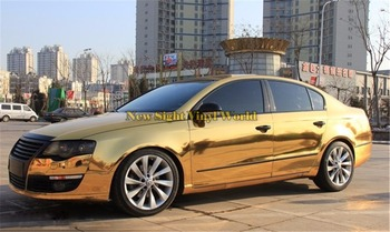 Best Quality Flexible Chrome Gold Vinyl Film Car Wrap Gold Chrome Vinyl Wrap Bubble Free