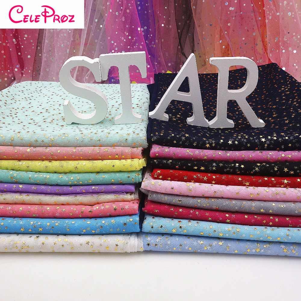 ... 1M Golden Star Tulle Fabric Glitter Star Tulle Organza Fabric Wedding  Birthday DIY Party Tutu SKirt ... c1798e485b2d
