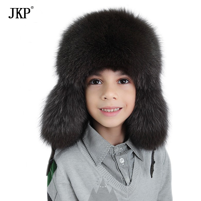 купить JKP2018 New Fashion warm Winter Protect your ears Hat real Fox Fur Boy Russian children bomber cap kid hats Free Shipping HT-30 онлайн